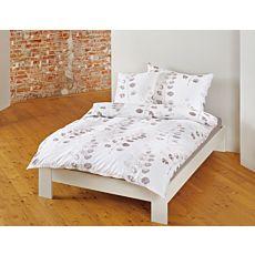 Linge de lit bio avec motif de feuilles dans de beaux tons bruns