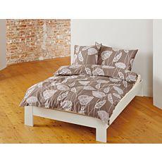 Linge de lit bio satin avec motif de feuilles sur fond brun