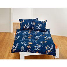 Parure de lit avec motif automnal de fleurs sur fond bleu foncé
