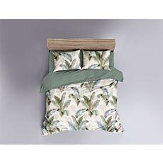 Parure de lit orné de feuilles en bleu et vert