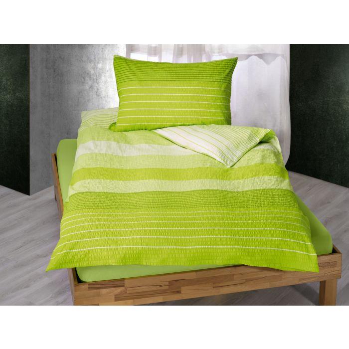 Parure de lit rayé en vert clair