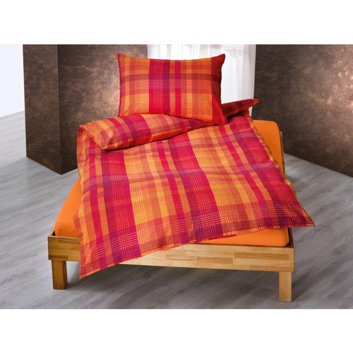 Parure de lit à rayures longitudinales et transversales en orange et violet