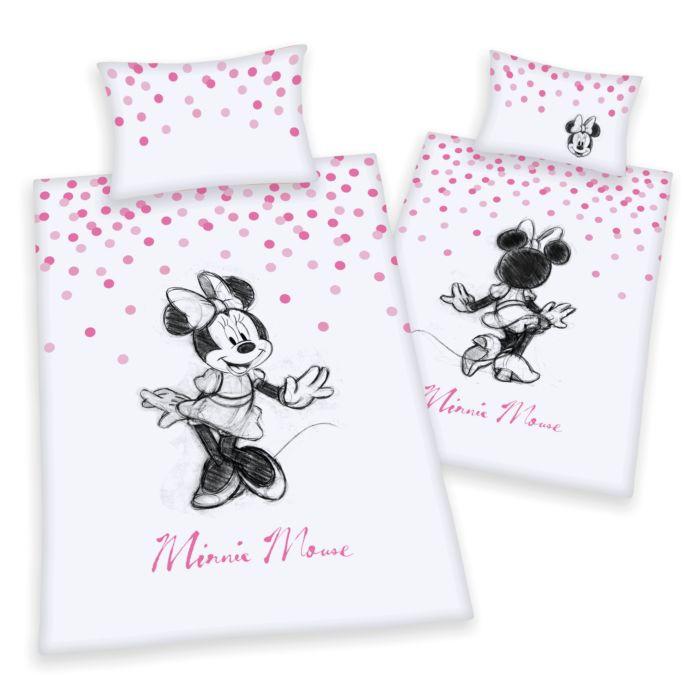 Linge de lit Minnie et pois roses