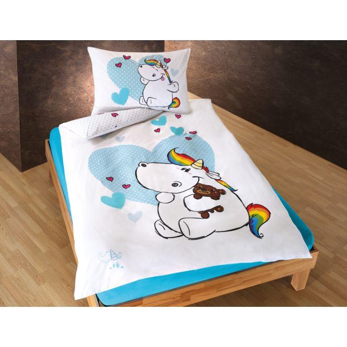 Linge de lit Licorne rigolote avec cœurs sur fond blanc