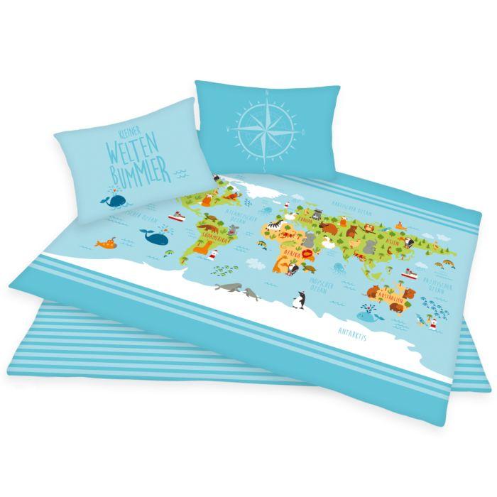 Parure de lit avec carte du monde multicolore sur fond bleu clair