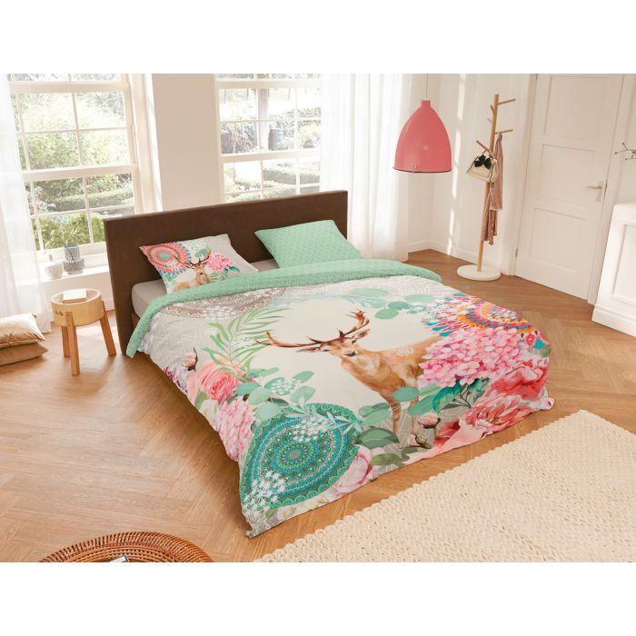 Parure de lit avec motif de cerf et de mandalas fleuris