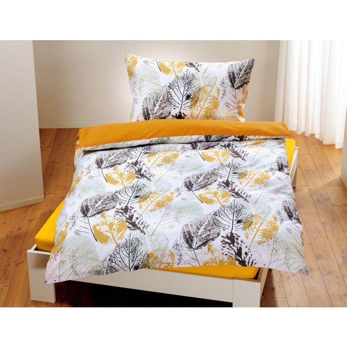 Parure de lit avec motif de feuilles en technique d'impression par tampon