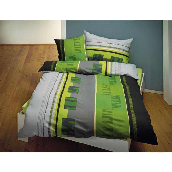 Parure de lit aux coloris vert-gris-noir