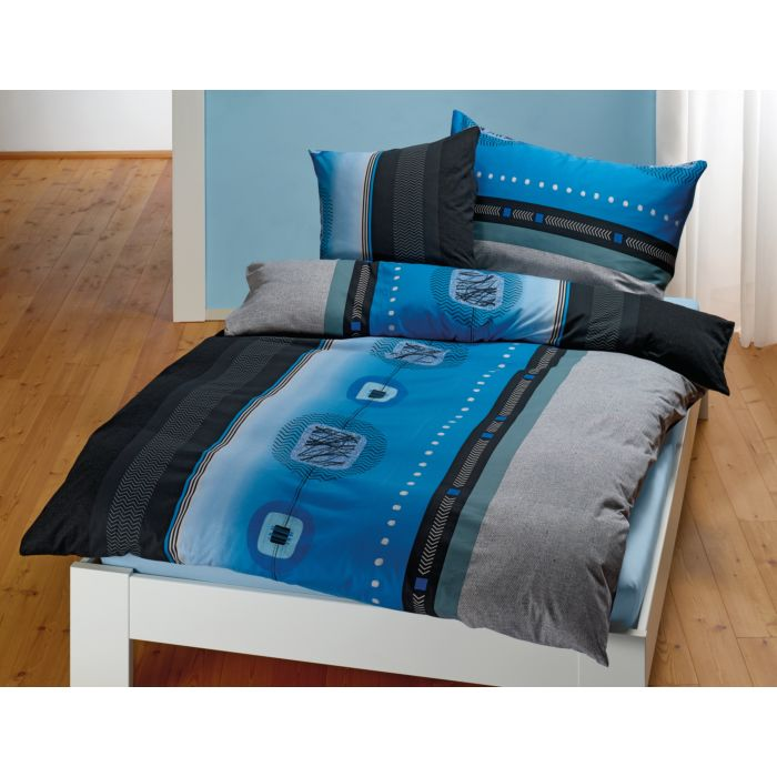 Parure de lit à motif graphique en bleu-anthracite-noir