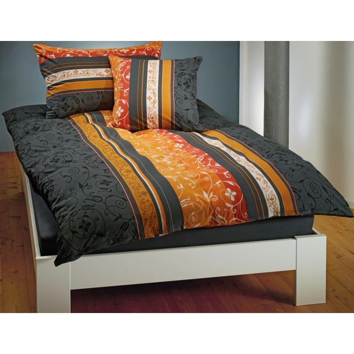 Linge de lit rayé orné d'un motif fleuri orange-anthracite