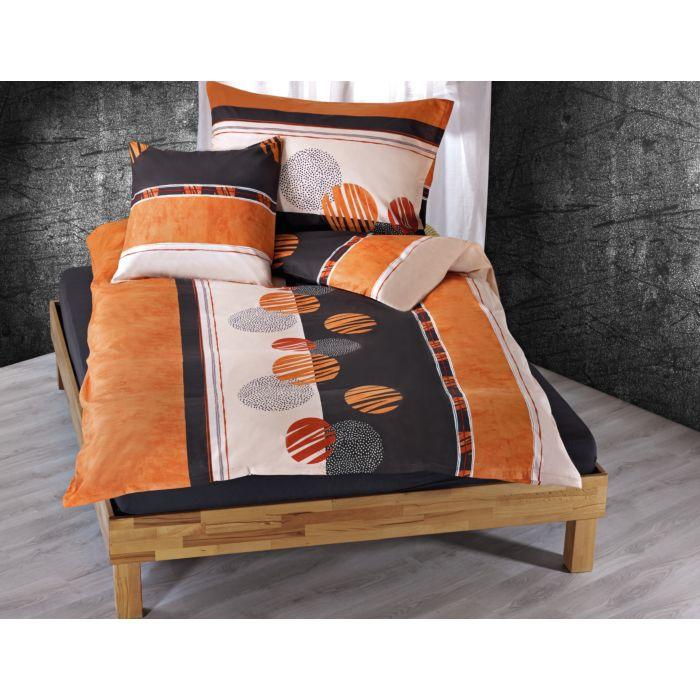 Linge de lit avec motif de cercles en orange-anthracite