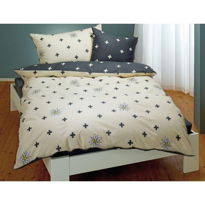 Linge de lit avec edelweiss et croix suisse en blanc et gris