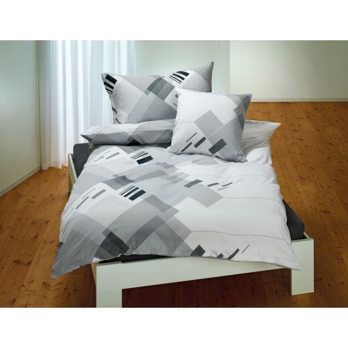 Linge de lit orné de bandes modernes, en noir-blanc-anthracite
