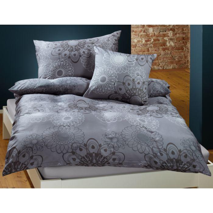 Parure de lit avec différents motifs spirographiques en blanc-anthracite
