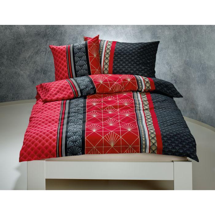 Linge de lit au motif moderne en noir-rouge
