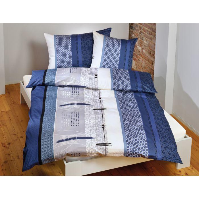 Parure de lit avec motif de carrés et de rayures en bleu