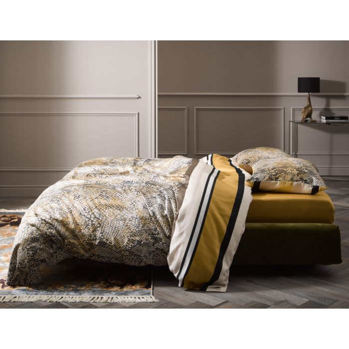 Linge de lit ESSENZA à rayures et motif de serpents en coton