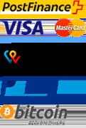 VISA, Mastercard, PostFinance, TWINT